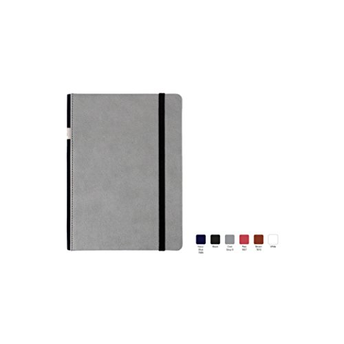MEMPHIS Ruled, Hardcover Executive Notebook Journal with Premium Paper, 192 Lined Pages, Soft Spine with Pen Loop, With Bookmark Ribbon, Gusseted Back Pocket, Cool Gray Cover, Size 5.5