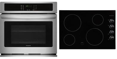 Frigidaire 2-Piece Kitchen Package with FFEC3024LB 31″ Electric Smoothtop Style Cooktop in black, and FFEW3026TS 30″ Electric Single Wall Oven in Stainless Steel