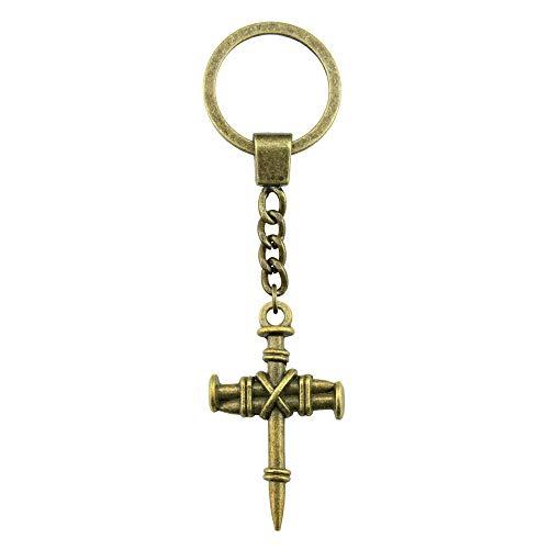 WYSIWYG 3 Pieces Key Chain Women Key Rings Fashion Keychains for Men Nail Cross 34x20mm ()