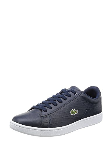Lacoste Men's Carnaby Evo Men's Blue Leather Sneakers In Size 47 Blue