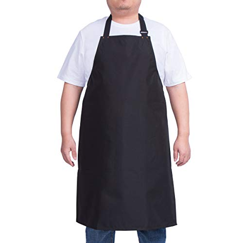 - ALIPOBO Waterproof Apron for Men and Women, Durable Heavy Duty Extra Long Adjustable Bib Apron for Kitchen Cooking, Dish Washing, Butcher, Dog Grooming, Lab Work, Black