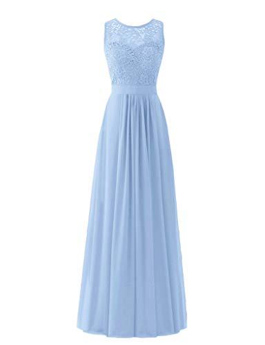 (Lace Top Chiffon Bottom Simple Prom Dress A-line Bridesmaid Dresses Long (US8, Sky)