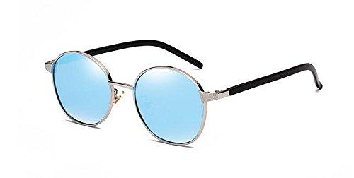 du retro de cercle inspirées en métallique vintage style Bleu Lennon Glacier rond lunettes polarisées soleil UIYqqT