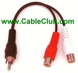 RCA Splitter Cable RCA Splitter Cable One Male to Two Female