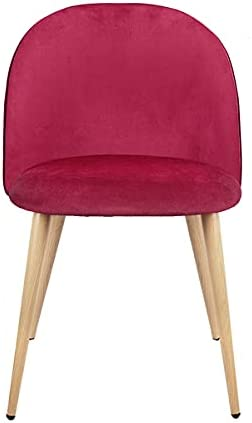 XYYSSM Set of 2 Exquisite Velvet Dining Ear Chair, with Metal Wood Grain Color Legs,Red A, for Kitchen, Dining, Bedroom, Living Room Side Chairs.