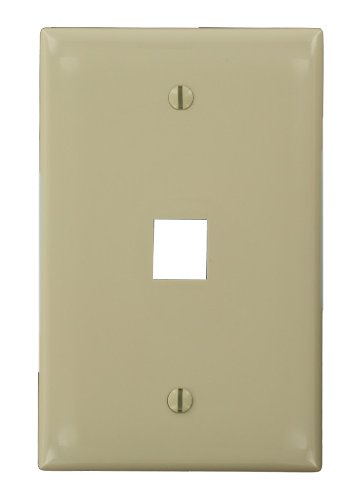 (Leviton 41091-1IN QuickPort Midsize Wallplate, Single Gang, 1-Port, Ivory)