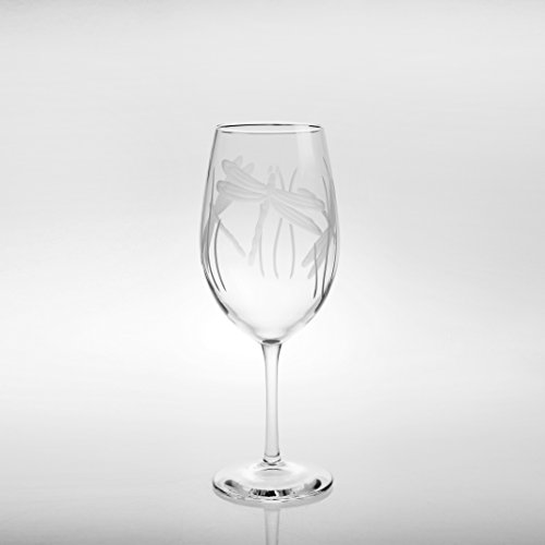 Rolf Glass Wine Glasses All Purpose Dragonfly 18 ounces Set of 4 (Etched Glasses Set Wine 4)