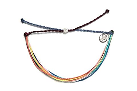 Pura Vida Color Collage Bracelet - Handcrafted with Iron-Coated Copper Charm - Wax-Coated, 100% - Navy Water Resistant Bracelet