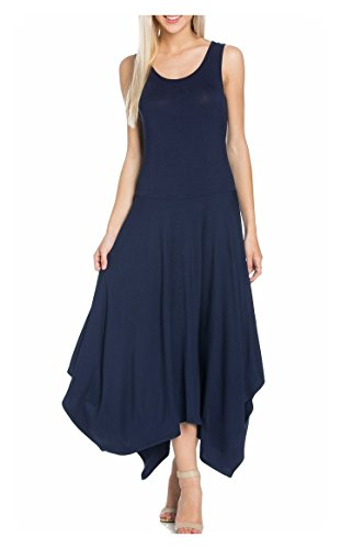 My Space Clothing Women's Asymmetrical Hem Sleeveless Jersey Midi Dress (small, Navy)