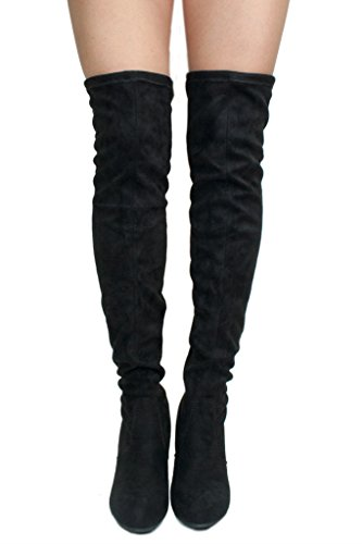 Women's Over Knee High Block Chunky Heel Thigh Heel Faux Suede Boots (Black-C) by SNJ (Image #2)
