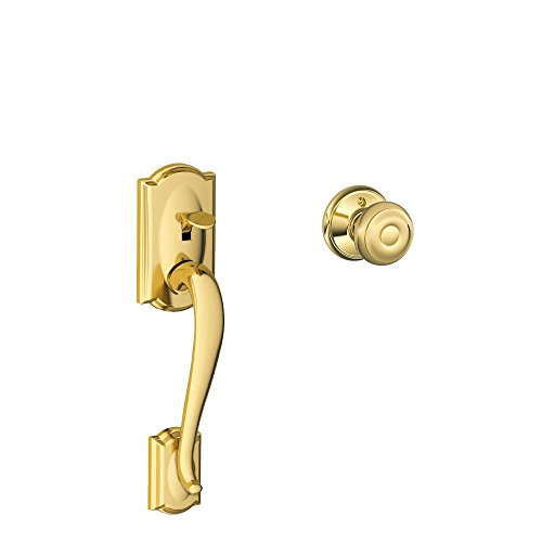 Schlage LOCK Camelot Front Entry Handle Georgian Interior Knob (Bright Brass) FE285 CAM 505 GEO 605 - LOCK FE285 CAM 505 GEO 605