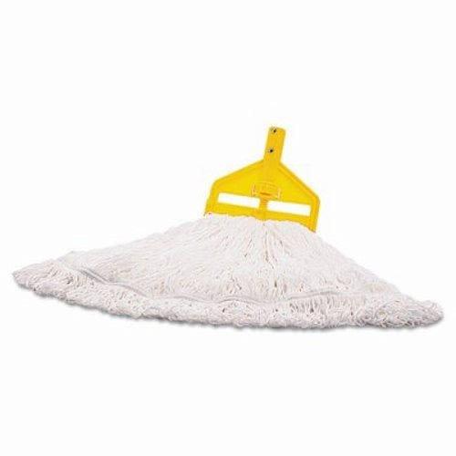 Rubbermaid Commercial T20006 Nylon Finish Mop Head, Medium, White, 6/Carton