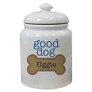 "Personalized Ceramic Good Dog Treat Jar, 10"""