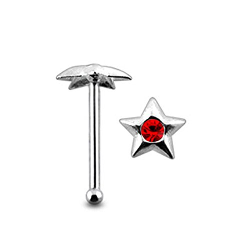 Red Jeweled Star Top 22 Gauge - 6MM Length Silver Ball End Nose Stud Nose Piercing
