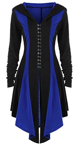 GAGA Womens Halloween Costumes Hooded Robe Lace UpPullover High Low Long Hoodie Dress Blue M]()