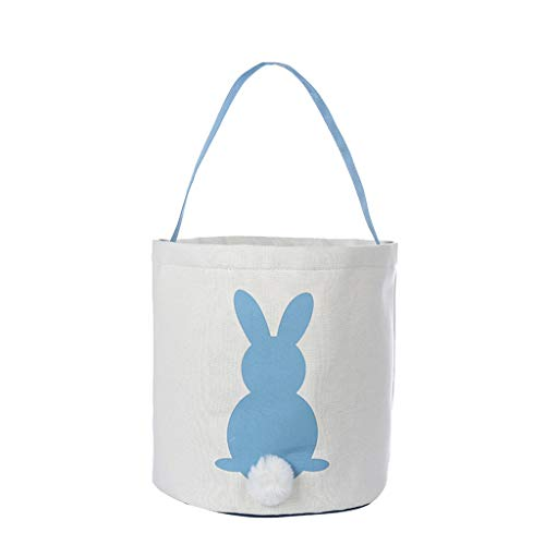 Ganenn Fashion Rabbit Bunny Printed Tote Bag Canvas Gift Carry Eggs Candy Gift Bag Easter (Blue)