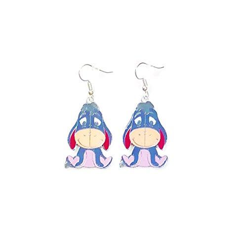 (Disney Winnie the Pooh EEYORE Character Metal Drop Dangle Hook Earrings With Gift)