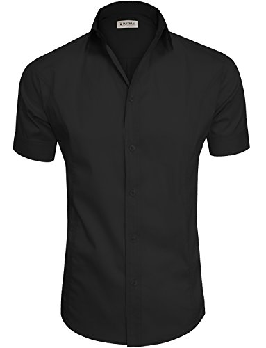 TAM WARE Mens Casual Plain Short Sleeve Button Down Shirts TWCMS19A-BLACK-US M