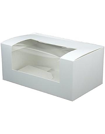BIOZOYG 50x Caja pastelería | Caja Regalos | Caja para Muffins | de cartón Blanco |