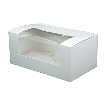 BIOZOYG Cupcake Patisserie cartón Blanco I Cupcake Muffin Caja Regalo pastelería, cartón reciclable I 50x