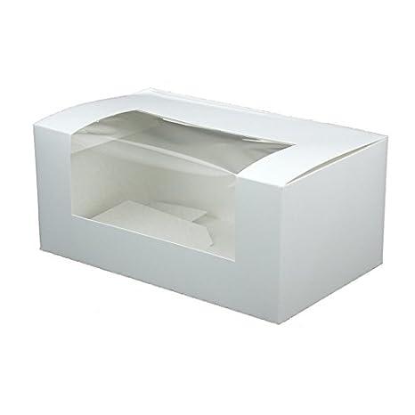 BIOZOYG 50x Caja pastelería | Caja Regalos | Caja para Muffins | de cartón Blanco | con Ventana | 18x11x8cm, Cuadrada | Totalmente reciclable Estable ...