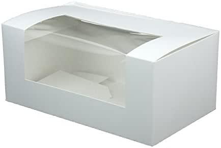BIOZOYG Cupcake Patisserie cartón Blanco I Cupcake Muffin Caja Regalo pastelería, cartón reciclable I 50x empaquetado Robusto para Galletas con Ventana de visión 18x11x8cm Rectangular: Amazon.es: Hogar