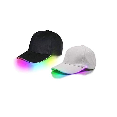 2 Pack LED Hat led Lighted Glow Club Party Sports Athletic Black Fabric Travel Flashlight Light up Hat Baseball Golf Hip-hop Sports Flash Cap Stage Performance Men Women Multicolored