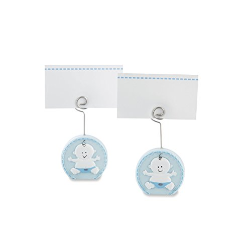 Places Holder (Kate Aspen Baby Boy Blue Place Card Holder (Set of 6) Placecard, Blue and White)