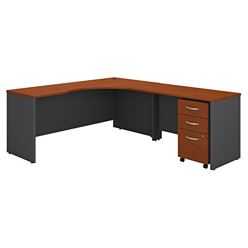Bush Business Furniture Series C 72W Right Handed Corner Desk with 48W Return and Mobile File Cabinet in Auburn Maple