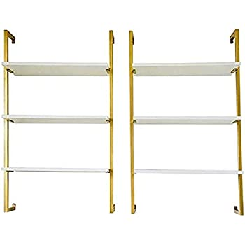 CHAOXIAN Floating Wall Shelves Living Room Iron Art Multi-Layer Solid Wood Partition Storage Rack Bookshelf, 3 Sizes (Color : Gold, Size : C=B+B)