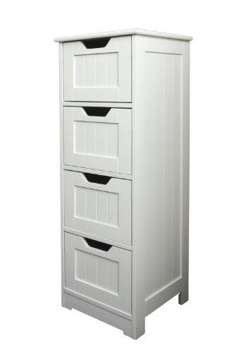 Bathroom Cabinet Storage - Slim Design Drawer Unit, White Wooden ...