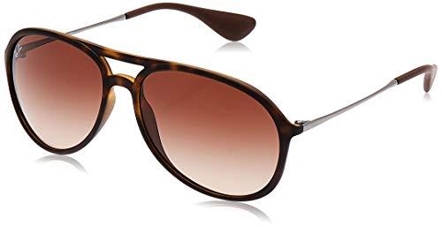 Ray-Ban RB4201 Alex Aviator Sunglasses, Rubber Havana/Brown Gradient, 59 mm (Cat Ray Bans)
