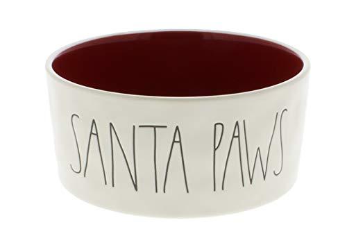 Magenta Rae Dunn Santa Paws LL Dog Bowl Red Interior