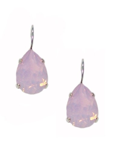 Mariana Antique Silver Plated Large Swarovski Crystal Teardrop Earrings (Silver Large Crystal Ring)