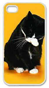 iPhone 6 4.7 Case, Funny Black Cat Face Case for iPhone 6 4.7 PC Material White