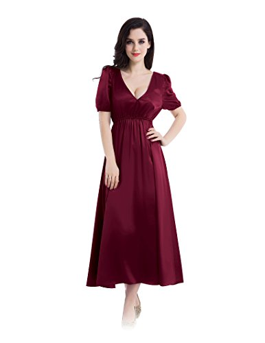 Bubble sleeves empire style dress sleepwear for women 22 momme silk nightgown