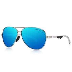 MERRY'S Men Pilot Sunglasses HD Polarized For Unisex Driving Sun glasses S8228 (Blue Mirror, 66)