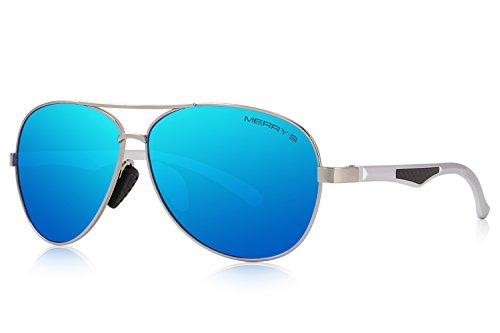 Sunglasses Men Aviator Sun Glasses Blue Color Brand Design - 6