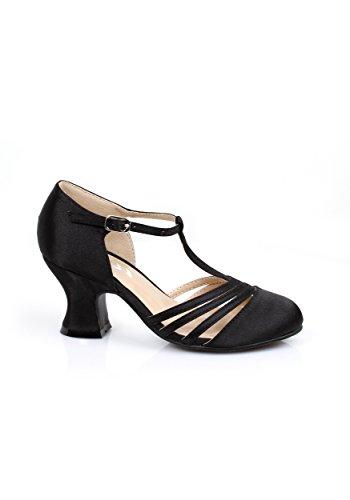 Girl's 1920s Black Flapper Shoes - L (Flapper Girls 1920)