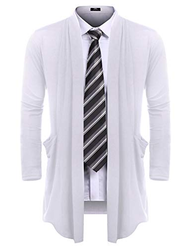 URRU Men's Ruffle Shawl Collar Cardigan Sweater Long Length Overcoat with Pockets White S