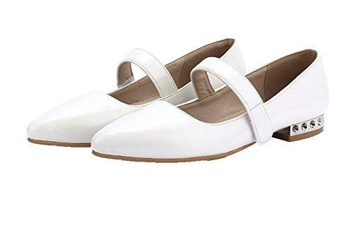 A Bianco Scarpe Colore Ballerine VogueZone009 Basso Tirare Assortito Donna Tacco Luccichio Punta qxfBxP8w