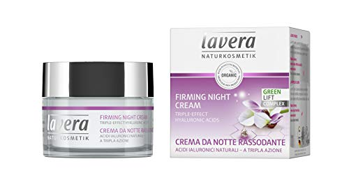 lavera Firming Night Cream: Anti-Aging Face Moisturizer with lifting effect - Hyaluronic Acid, Karanja Oil & Organic White Tea support skin regeneration for a softer & firmer skin while you sleep - 1