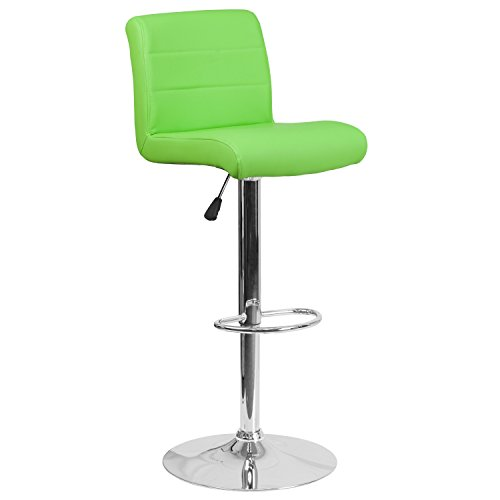 Flash Furniture Contemporary Green Vinyl Adjustable Height Barstool with Chrome Base (Contemporary Green)