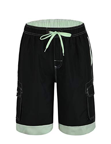 Nonwe Men's Surf Water Summer Beach Trunks with Drawsting Black&Green 36 ()