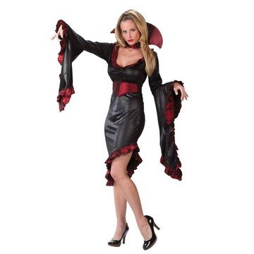 Vampiress Ruffle with Collar Adult Costume - (Ruffle Vampiress Costumes)