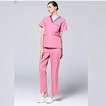 OPPP Ropa médica Hospital Enfermera Uniforme Uniforme médico de Damas de Manga Corta Bata quirúrgica médico Ropa salón de Belleza Ropa de Trabajo: ...