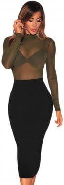 Green Mesh Unlined Mock Neck Bodysuit Size 8-10