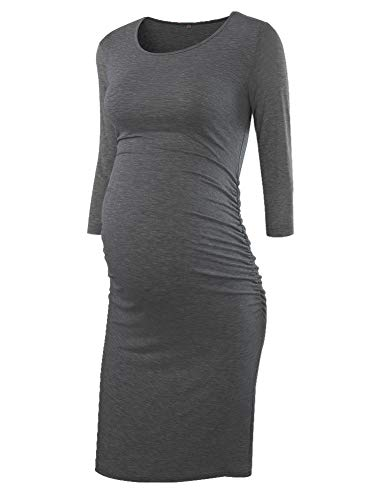 Liu & Qu Women's Ruched Maternity Bodycon Dress Mama Causual Long Sleeve Wrap Dresses