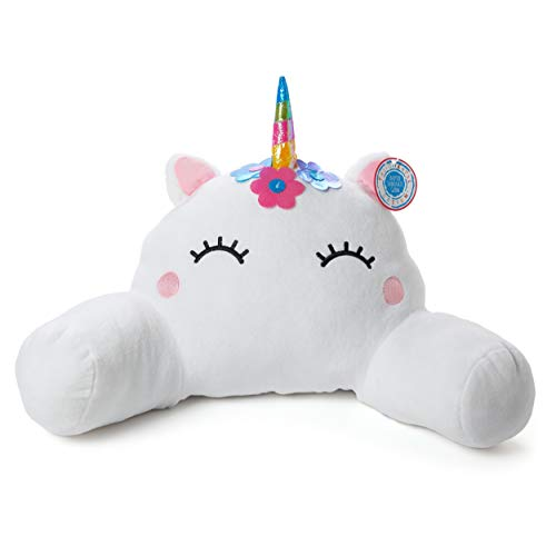 Tri-coastal Design Fuzzy Plush Unicorn Boyfriend Reading Pillow with Back, Neck and Arm Support - Perfect for Sitting Up in Bed While Gaming, Reading, Watching TV or Relaxing]()