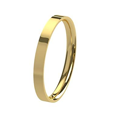 Unisex 9ct Yellow Gold, 2mm Flat Shape, Polished Wedding Ring Plain Band